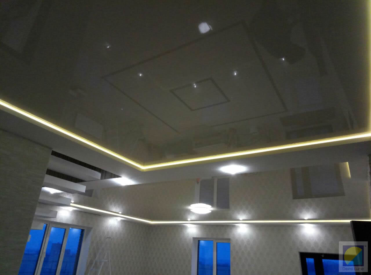 Как сделать подсветку натяжного потолка по периметру фото